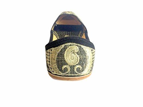 N Step, dicono le donne s Leather Khussa sandali Flat passante Jutti Jaipuri scarpe Multicolore (Multicolore)