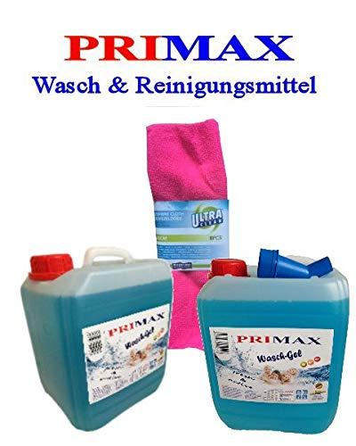 4 x 5 Ltr. Primax Flüssigwaschmittel blau Ausgießer Microfasertuch Kraftgel Gel Waschmittel ähnl. Waschpulver