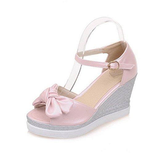 AllhqFashion Damen Offener Zehe Weiches Material Rein Sandalen Pink