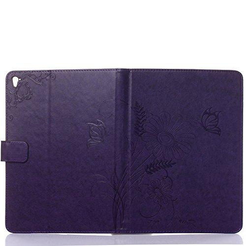 MOONCASE iPhone 6S Plus Custodia in pelle Protettiva Flip Cover per iPhone 6 Plus / 6S Plus 5.5 Fiore Snap-on Magnetico Bookstyle TPU Case Viola chiaro Porpora