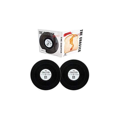 Glasuntersetzer the Coaster - 2er Set Silikon Untersetzer Schallplatten Vinyl Record Look im Cover als dekorative Geschenkbox