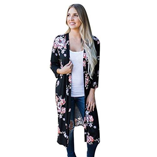 Yuan Übergroße Damen Blumenmuster Strickjacke drucken Kimono Cardigan Bluse Langarmshirt Lose Oberteil Mantel Jacke (XXL, Schwarz) (Promi-leder-hosen)