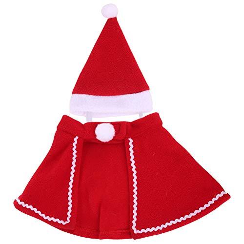 Doubleer Hund Weihnachten Kostüme Weihnachtsmütze Haustier Anzug mit Mütze Weihnachtsmann Anzug Hund Hoodies Katze Weihnachten Kostüme Party Anzug Warm im Winter für Welpen Kätzchen Kleine