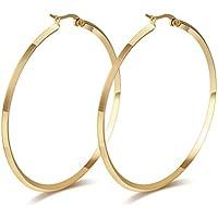 Vnox Delle ragazze delle donne in acciaio inox Normale Semplice round Thin Orecchini a cerchio in oro,creolo,diametro 57