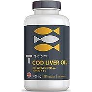 Cod Liver Oil Capsules 1000mg 365 High Strength Omega 3 Softgels, EPA DHA Vitamins A & D3, Full Year Supply, Gluten Free, by Transforme