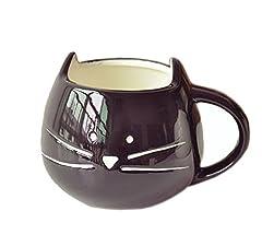 Idea Regalo - FunRun 300ml gatto Ceramica carina coppa, Tazza da caffè in ceramica, innovativi Cat modello Cup(Nero)
