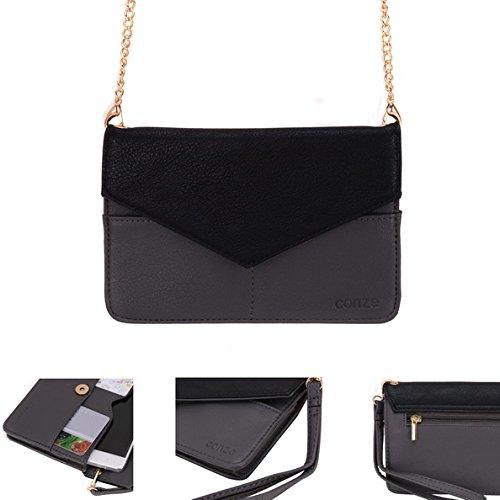 Conze da donna portafoglio tutto borsa con spallacci per Smart Phone per Huawei P9/Plus/Lite nero Black Grey