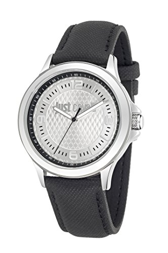 Just Cavalli Just Iron Men's Quartz Watch with Silver Dial Analogue Display and Black Leather Strap R7251596002