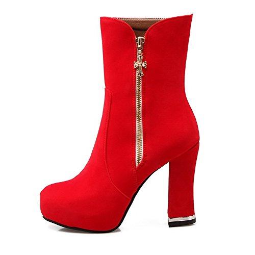 AalarDom Damen Rein Mattglasbirne Hoher Absatz Reißverschluss Rund Zehe Stiefel, Rot, 39