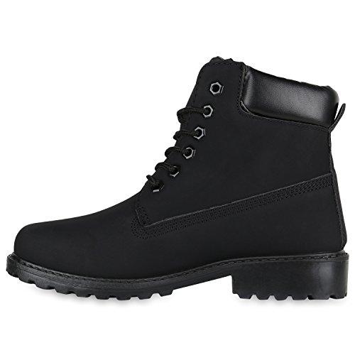 Stiefelparadies Warm Gefütterte Damen Stiefeletten Fell Worker Boots Outdoor Schuhe Flandell Schwarz Carlet