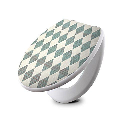 Preisvergleich Produktbild banjado - weißer Design Toilettendeckel WC Sitz Brille 36 cm x 5,5cm x 42,5cm mit Motiv Schubert Raute ,Toilettendeckel: Weiß
