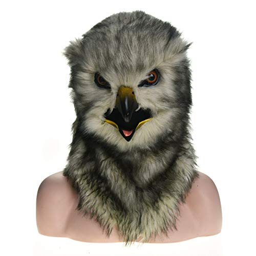 XIANGBAO-Maskenparty Fabrik Direktverkauf Pelz Halloween Bewegung Mund Maske Eule Simulation Tiermaske (Color : Grey, Size : 25 * 25)