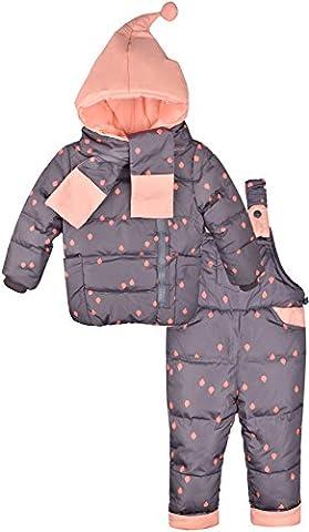 ZOEREA Mädchen Junge Süß Daunenjacke Punkte mit fest Kaputze mit Daunenhose und Daunenschale 3tlg.