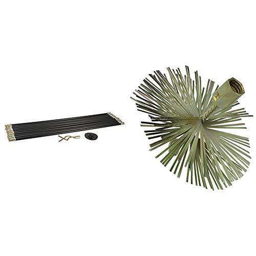 Silverline 273193 Juego de Varillas de Drenaje, 12 pzas, Piece & 366706 - Cepillo de alambre en forma de espiral (150 mm)