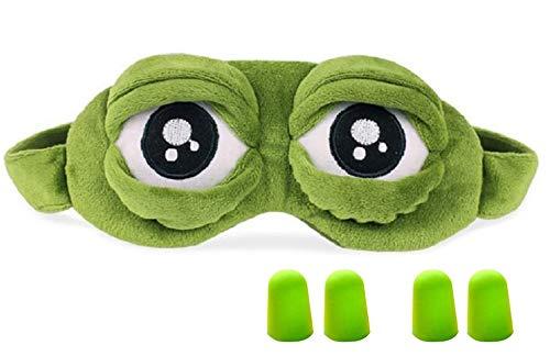 Hemuu 1 STÜCK Schlafmasken/Sleep Masks mit 2 Sätzen Ohrstöpsel,lustige kreative Augenmaske Nachtmaske,weiche 3D Reiseschlafmaske mit Gummiband, Frosch Maske Schlafen Reisen für Kinder und Erwachsene -