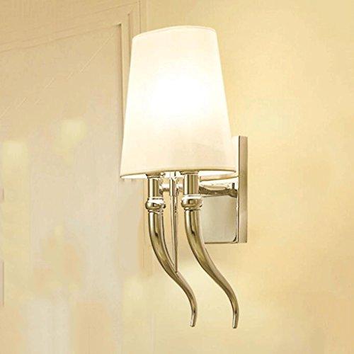 GAODUZI Post-Moderne Minimaliste Creative Personnalité Hôtel Griffe Applique Salon Allée Salon Chambre Lit Double Cornes Mur Lampe E14 (Taille : 60 cm)