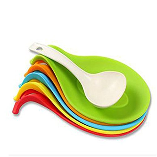 HENGSONG Spoon Rest, Kitchen Silicone Spoon Holders for Kitchen Accessories, Spoons, Spatula, Brushes, Cutlery (Green)