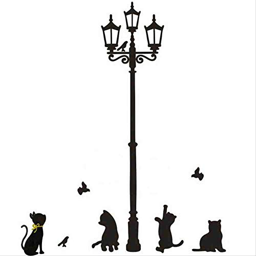 JPDP Cats Street Lamp Lights Stickers Wall Decal Removable Art Vinyl Decor Wall Stickers Bedroom Decorations For Home Quotes