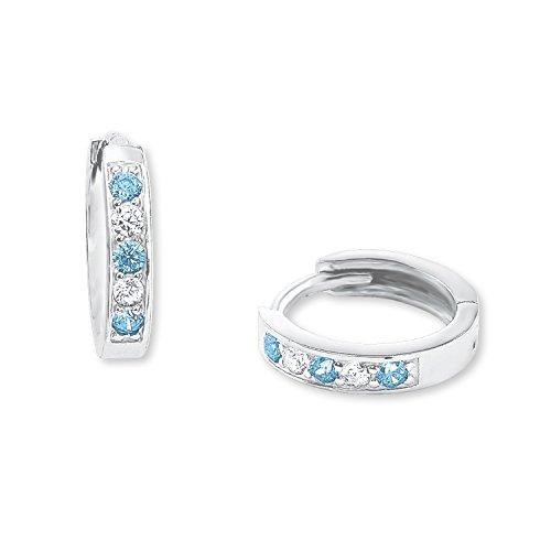amor Mädchen-Creolen mit blauen und weißen Zirkonia aus rhodiniertem 925er Sterling Silber