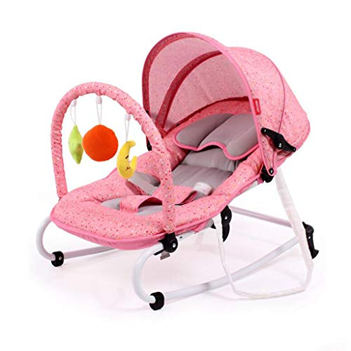 Sleepy Rocking Chair Steel Lazy Sunshade Basket Soothing Lying Swing Bed 3 Colors 72cm*47cm MUMUJIN (Color : Pink)  MUMUJIN