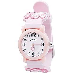 JNEW - Cute Watch Watchband for Girls Reloj para Niñas Dibujo Divertido 3D Estilo Dulce Lindo Reloj de Pulsera Infantil Aprender la Hora - 3-10 Años - Rosa - con Caja