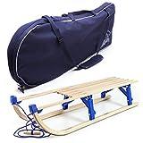 Holzfee Klappschlitten 110 cm mit Leine und Schlitten-Tasche Tourer Blue XL-Set