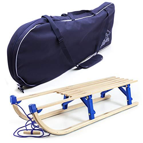 Schlitten Tasche (Holzfee Klappschlitten 110 cm mit Leine und Schlitten-Tasche Tourer Blue XL-Set)
