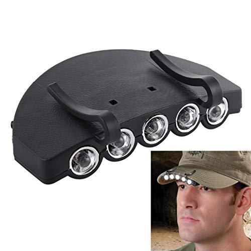 Godlikematealliance LED Light LED-Licht Kopf Licht Lampenkappe Taschenlampe, 5 LED weißes Licht, für Outdoor Angeln Camping Jagd (schwarz) (Farbe : Black)