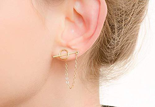 Threader-Ohrringe kette ohrstecker bar ohrringe minimalistisch Kreis-Ohrstecker-Set mit Kette -