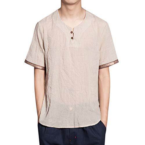 Tyoby Herren Baggy Baumwolle Leinen Volltonfarbe Kurzarm Retro T-Shirts Tops Bequem Schnitt Herrenbekleidung(Khaki,M)