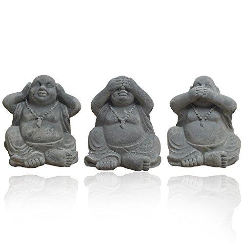 DRULINE 3er Packung Statuen Buddha Figuren 11 x 11,5 x 9,5 cm Grau