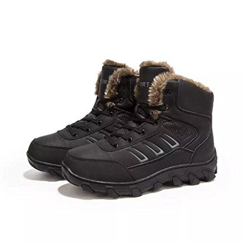 Stivali Scarponi da Neve Uomo Invernali Pelliccia Stivaletti Pelle Impermeabile Scarpe Caldo Boots High Top Sneaker(Nero,44 EU,27CM dal Tallone alla Punt