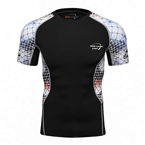 FRAUIT-Herren T-Shirt Mode Yoga Fitness Kurzarm T-Shirt Schnell Trocknende Kompressions-T-Shirt Funktionsshirts Kurze Hülsen-Spitzenbluse Bedrucktes, Atmungsaktives T-Shirt mit Kurzen Ärmeln