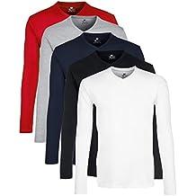 Lower East T-shirt à Manches Longues à Encolure en V, Lot de 5