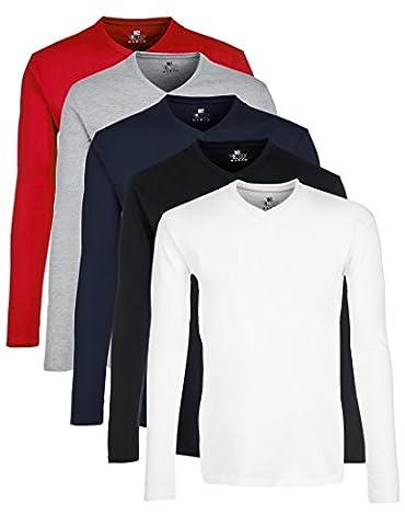 Lower East pour la Pratique du Sport, T-Shirt à Manches Longues Homme, Multicolore (Schwarz/Weiß/Navy/Grau/Rot Schwarz/Weiß/Navy/Grau/Rot), Large (lot de 5)
