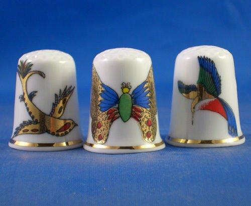 Coleccionable de dedal para porcelana juego de tres de oro broche con