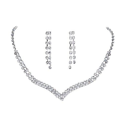 YAZILIND glänzender klar Kristall Versilbert Brautschmuck Sets Halskette und Ohrringe (kurz)