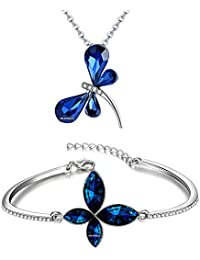 Diwali Gift - Om Jewells Rhodium Plated Combo Of Elusive Four Winged Crystal Butterfly Pendant Necklace And Bangle...