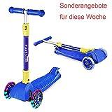 Navestar Kinderscooter Faltbar Tretroller Kinder Scooter mit 3 Räder ab 3-8 Jahre alt, Blau