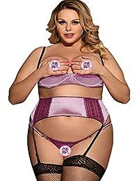 Mujeres Tallas Grandes Lencería Sexy Lace Top Bra Pantalones Ropa Interior  Set Temptation Ropa De Noche 8e2ac0322403