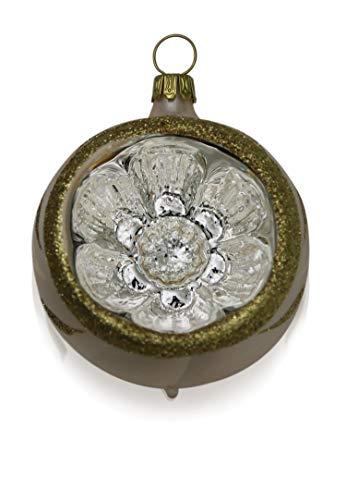 Kugeln mit Einstich Eislack champagner mit Dekor 4 Stück d 6cm Christbaumschmuck Weihnachtsbaumschmuck mundgeblasen, handdekoriert Lauschaer Glas das Original