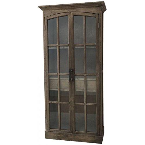 Stile Antica Grande Biblioteca Armadio vitrée Credenza Madia Buffet Mobile Legno 182cm