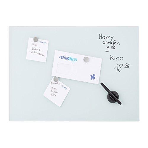 Relaxdays Glas-Magnetboard 80 x 50 cm, beschreibbar, Memboard, 3 Magneten, Sicherheitsglas, Magnettafel, weiß
