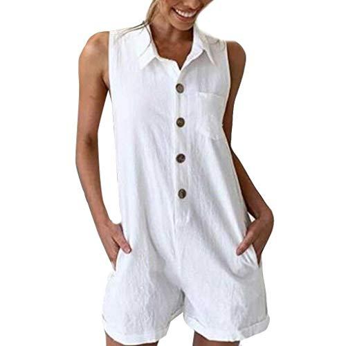 Dtuta Jumpsuits Damen Kurz Elegant Hosen Stretch Onesies for Women Reine Farbe Taste Stehkragen Lose äRmellose LäSsige Wilde Mode Einfache Tasche ()