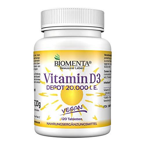 20 Vitamin (BIOMENTA VITAMIN D3 HOCHDOSIERT | 20000 I. E. | AKTION!!! | VEGAN | Vitamin D3 DEPOT: 1 Tab. Vitamin D /20 Tage | 120 Vitamin D3 Tabletten aus Cholecalciferol)