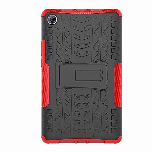 FANFO Huawei MediaPad M5 8.4 Hülle, [Dual Layer Armour Series] Anti-Scratch PC Rückwand Schale + Stoßfeste TPU Innenschutzabdeckung + Faltbarer Halterungen.rot