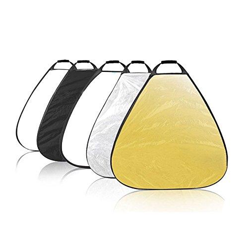 AFAITH 80CM 5-in-1 Faltreflektoren Set Reflektor /Diffuser-Kit mit Griff/Tragetasche (Gold, Silber, Weiß, Schwarz und transparent) für Studio und Foto Diffusor AF012 - 1 Reflektor-kit