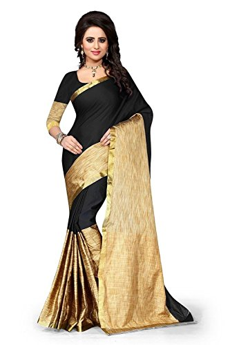 Sarees (for Women Party Wear offer Sarees New Collection Today Low Price Sarees in Black Cotton Silk Material Latest Saree With Blouse Free Size Beautiful Sarees With Blouse)