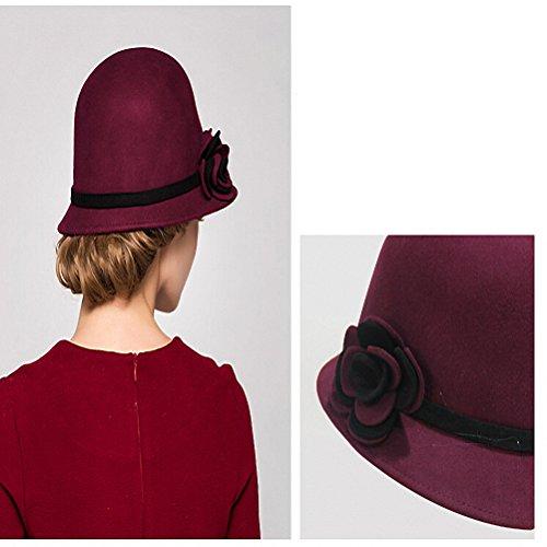 Maitose™ Bow De la femme laine en feutre Chapeau Vin rouge