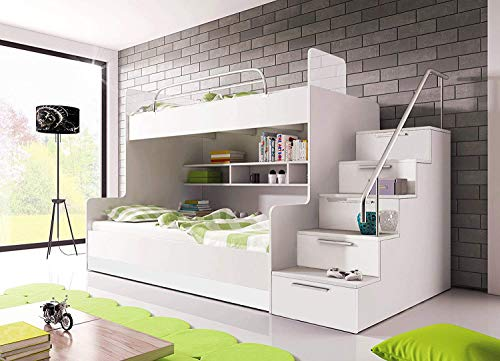 Ye Perfect Choice Bunk Bed LUNA K for 2 children Stairs Shelves Drawers High Gloss Inserts Rail (White, Right Hand Side)